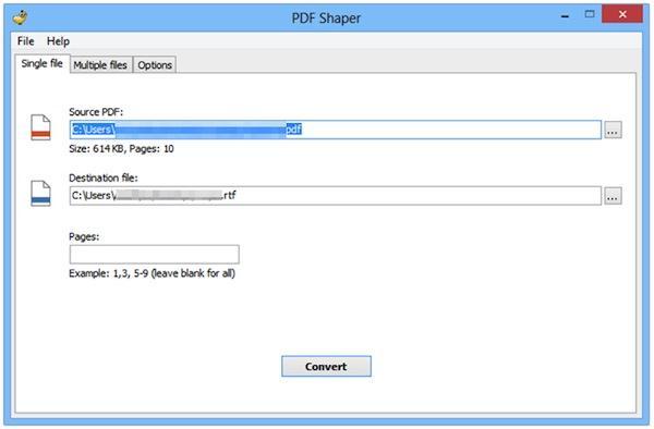 Transformă documente PDF în fișiere RTF