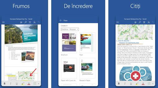 Aplicații de scris documente texte pentru Android Microsoft Word