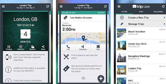Aplicații pentru vacanțe excursii Android sau iPhone TripCase