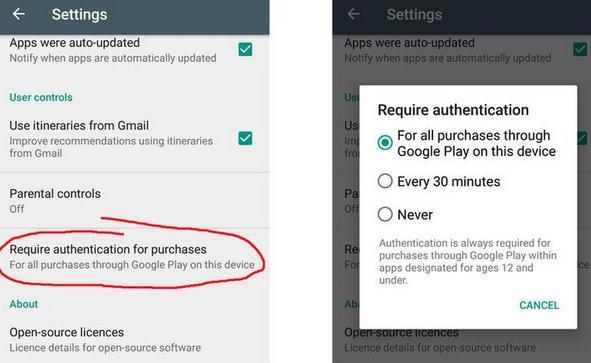 Control parental Google Play Store opreste achizitiile de aplicatii