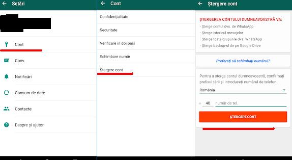 Șterge contul de WhatsApp pe Android sau iPhone inchidere cont