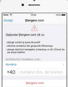 Șterge contul de WhatsApp pe iPhone
