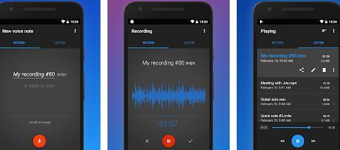 Aplicații de înregistrat vocea pentru telefon Android Easy Voice Recorder