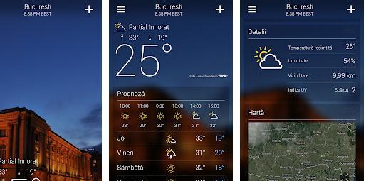 Aplicații meteo pentru telefon Android sau iPhone Yahoo Meteo