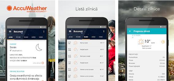 Aplicații meteo vremea pe telefon Android sau iPhone AccuWeather