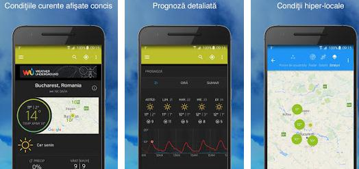 Aplicații meteo vremea pe telefon Android sau iPhone Wunderground