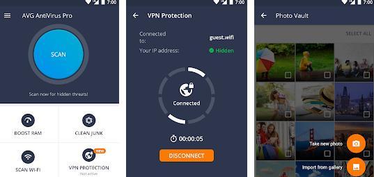 Aplicații pentru antivirus securitate telefon Android AVG Free Antivirus
