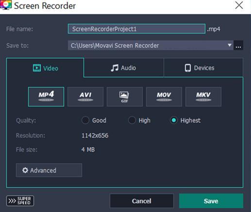 Captură de ecran la video screenshot în Windows 10