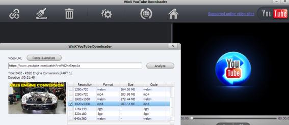 program de convertit videoclipuri WinX YouTube Downloader