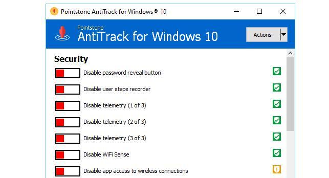 AntiTrack aplicație pentru confidențialitate Windows 10