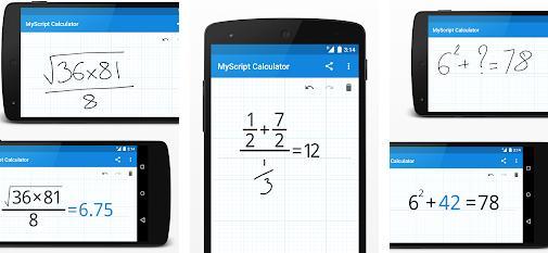 Aplicații de rezolvat probleme la matematică pe telefon MyScript Calculator