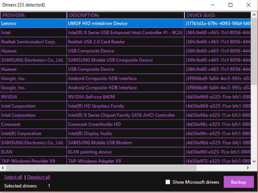 Program pentru backup și restaurare aplicații sau drivere