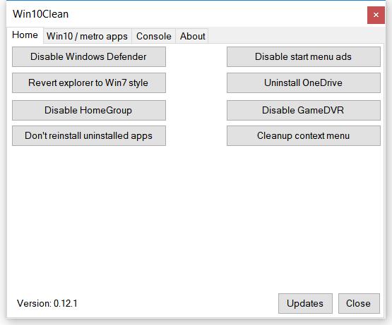Program pentru optimizare Windows 10 (Win10Clean)