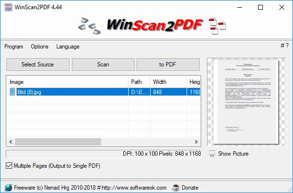 WinScan2PDF program de scanat documente