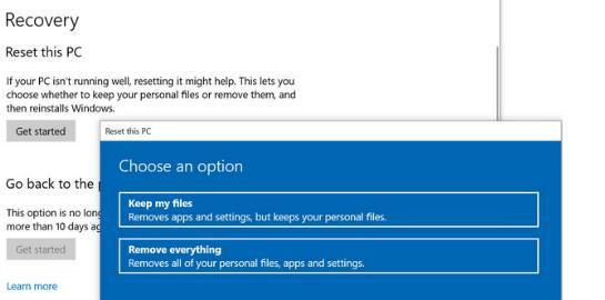 Resetare Windows 10