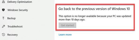 Revenire la o versiune anterioară de Windows 10