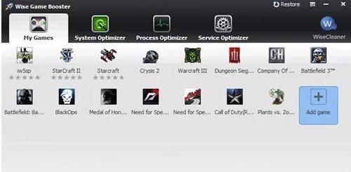 Accelerator video pentru jocuri PC Windows 10 Wise Game Booster