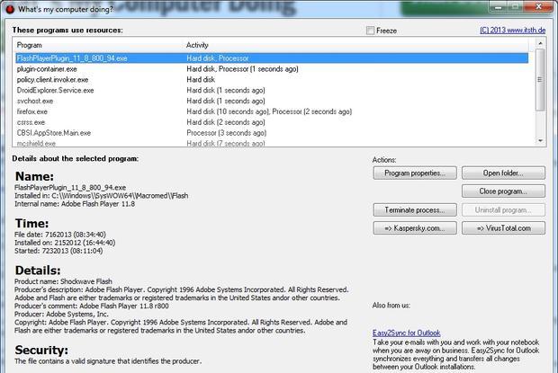 Caută programele care folosesc CPU-ul sau hard disk-ul