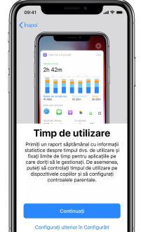 Funcția Timp de utilizare iPhone
