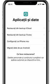 Restaurează sau transferă date iPhone