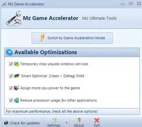 program de accelerat jocuri pe laptop Mz Game Accelerator