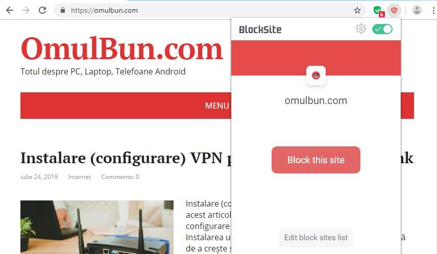 blocare site-uri web in chrome instalare
