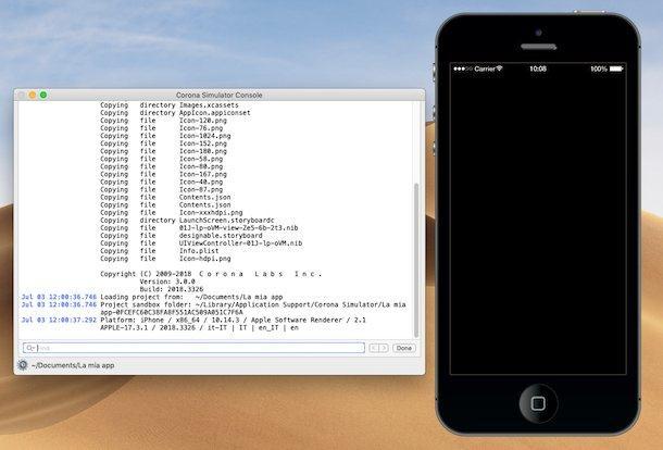 program de facut aplicatii pentru telefon Corona SDK (Windows macOS)