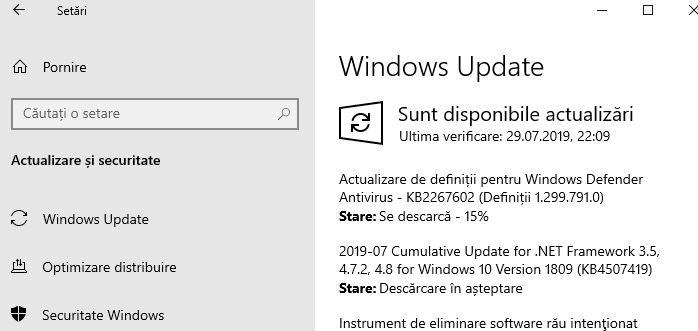 Actualizează Windows 10