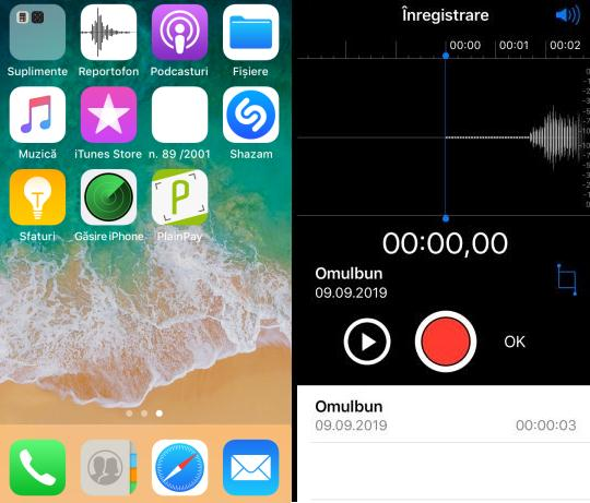 Înregistrare audio pe iPhone