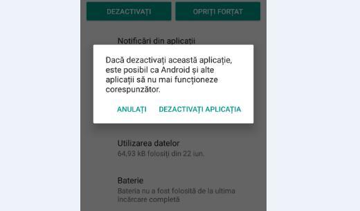 Eliminare aplicații Android