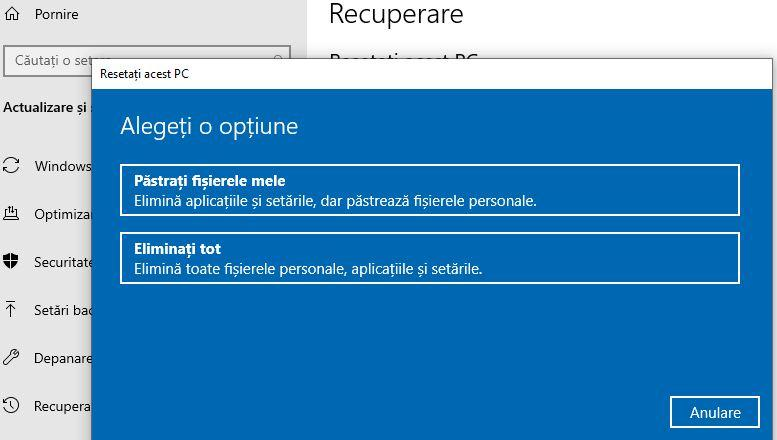 Opțiunea de resetare din Windows 10