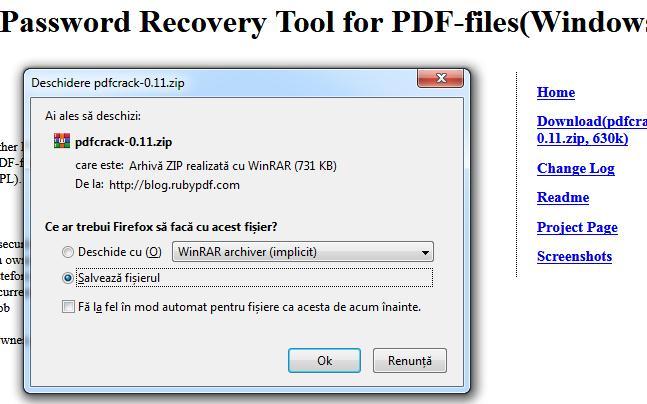 desecurizare pdf PDFCrack