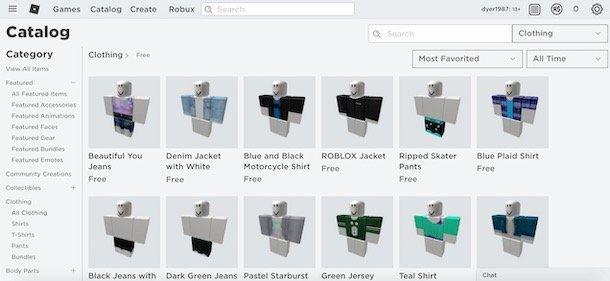 Caută haine gratis în catalogul Roblox