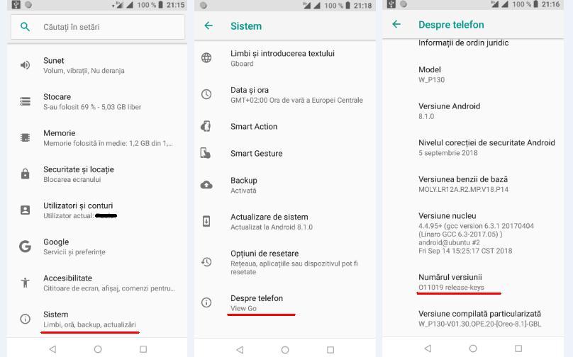 Caută numărul versiunii Android