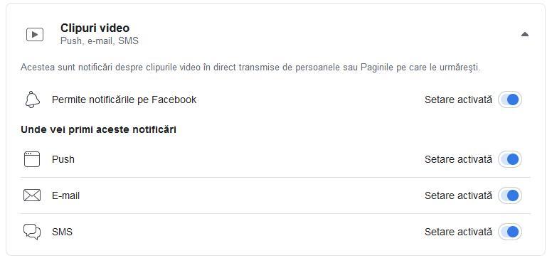 Dezactivare notificări Facebook pe PC