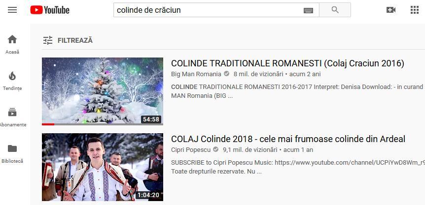 Youtube playlist cu colinde de crăciun românești