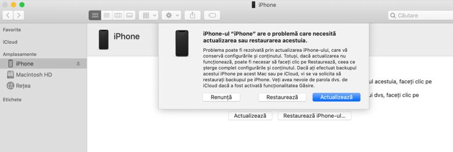ecran blocat restaurare iPhone