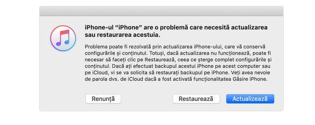 restaurare iPhone cu iTunes