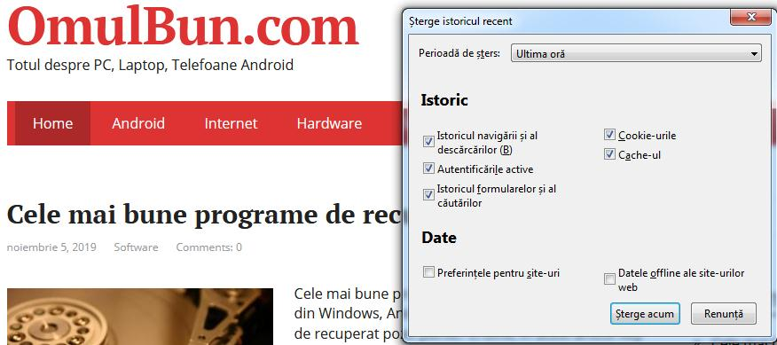 Șterge căutările anterioare din browser