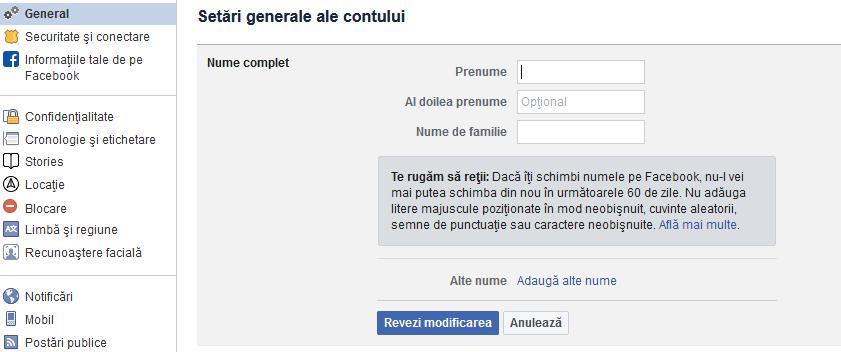Schimbare nume pe Facebook