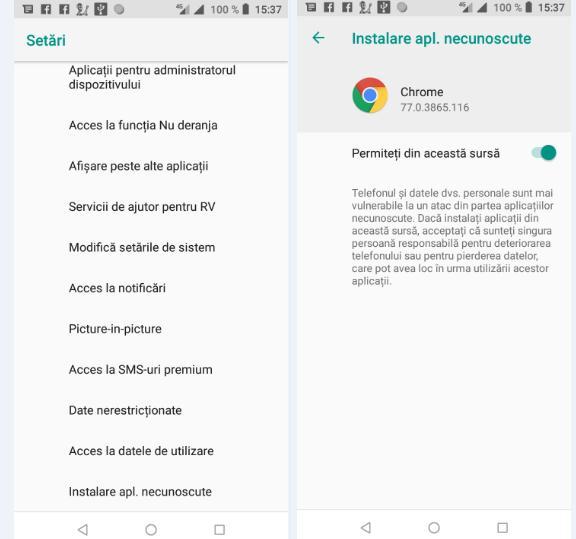 descarcare aplicatii pe telefon cu chrome