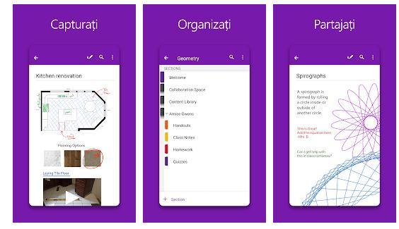 Aplicații pentru notițe OneNote