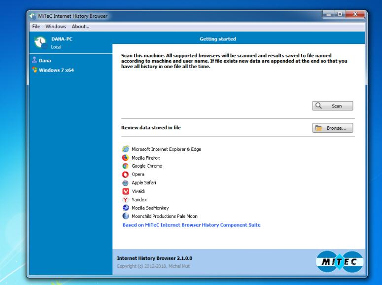 Istoricul browserelor într-o singură fereastră Windows