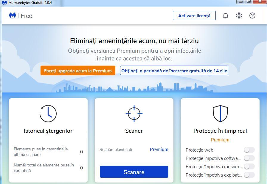 Caută viruși și malware în PC