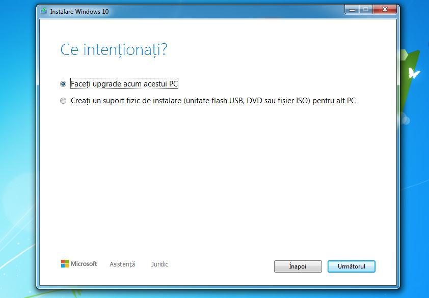 Trecere de la Windows 7 la 10