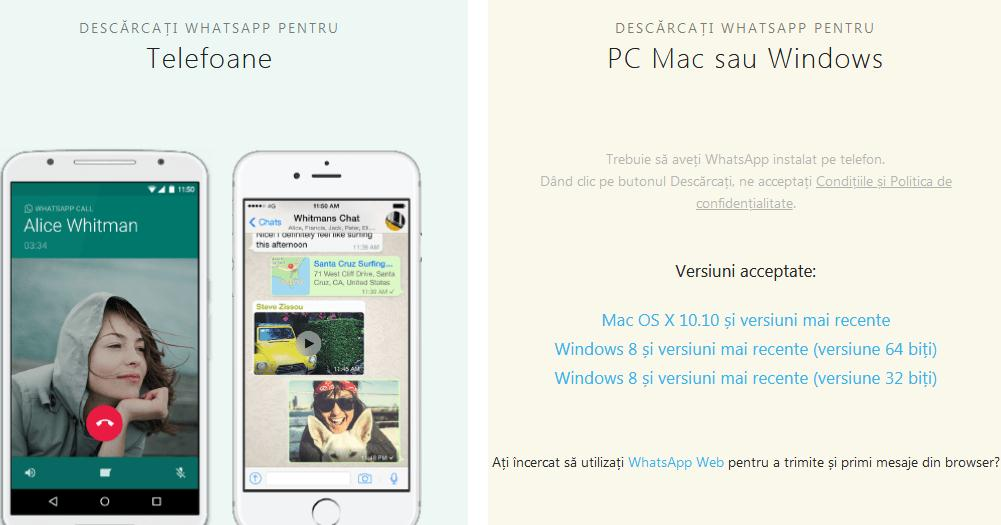 WhatsApp pentru calculator desktop