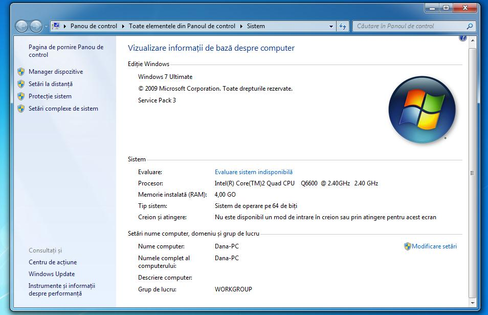 Windows 7 propietati de sistem