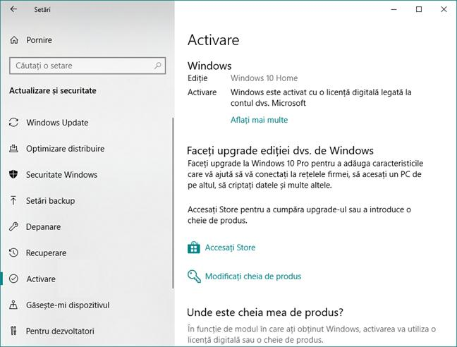 licență digitală cheie windows 10