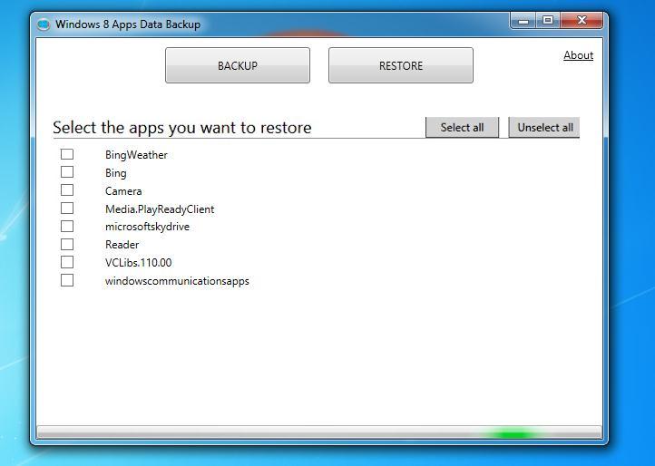 Copie de rezervă (backup) la aplicații în Windows 8