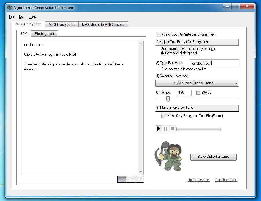 Criptare text și imagini în fișiere MIDI